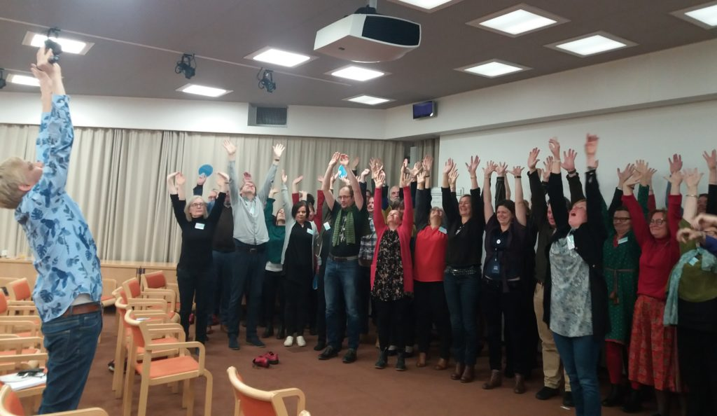 Antti Huntus and participants of the workshop at the World Saving Clinic-photo by Leena Marsio 2